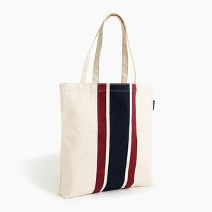J. CREW canvas reusable striped shopping t…